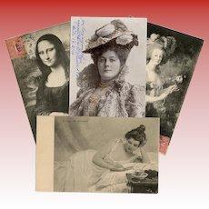 Four Antique European Postcards Mona Lisa Marie Antoinette