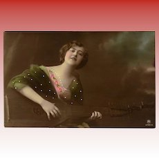 Woman Playing Theorbo Real Photo French Postcard with Strange Goodbye Note Verso