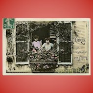 1908 French Postcard From Paris I Send You These Flowers Women at Balcony