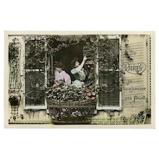1908 French Postcard From Paris Women at Balcony with Flowers and Bird Cage