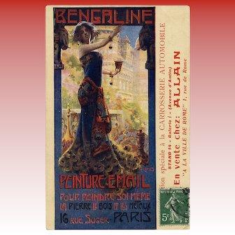Beauty in Peacock Gown Paris Art Nouveau Paint Advertisement Antique French Postcard