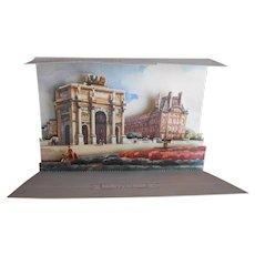 Paris Pop-up Postcard Arc de Triomphe du Carrousel and the Louvre c.1950s