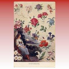 Language of Flowers Unused Antique Postcard
