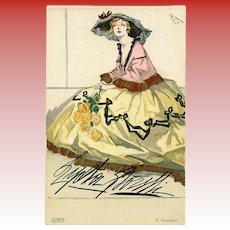 1916 Fashion Postcard-Size Art Print of Italian Actress by Artist Enrico Sacchetti