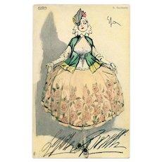 Antique Fashion Art Print of Italian Actress by Artist Enrico Sacchetti