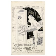 Pierrot and Packages French Advertising Postcard for Palais Nouveaute Artist Signed