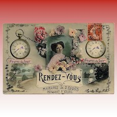 """1911 French """"Customizable"""" Rendez-vous Postcard"""