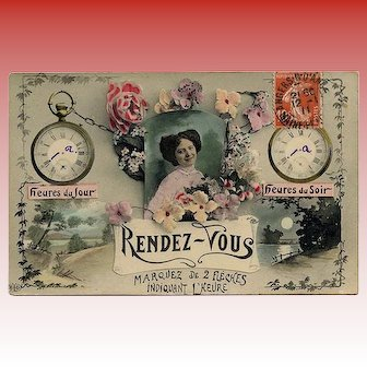 "1911 French ""Customizable"" Rendez-vous Postcard"