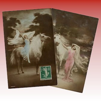 White Horses and Lovely Ladies Two Antique French Hand-painted Postcards
