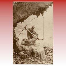 Mermaid Catch: Fisherman's Revenge Unused 1914 Sculptochrome Photo Postcard by Mastroianni
