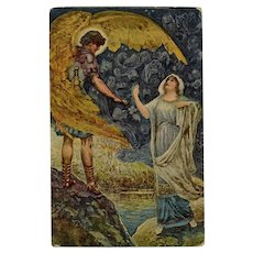 Fabiola's Dream: Golden Wing Angel by Italian Artist Unused Postcard
