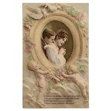 Lovebirds and Cupids Used Antique French Postcard