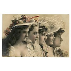 Five Belle Epoque Ladies in Profile Embossed European Postcard