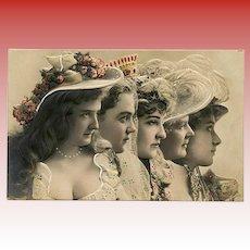 Five Belle Epoque Ladies in Profile Embossed European Postcard