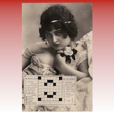 Italian Postcard with Sultry Starlett and Crossword Unused