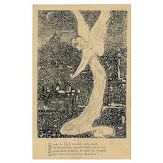 Christmas Angel Holding a Heart Pen and Ink Illustration Antique French Postcard Artist Signed