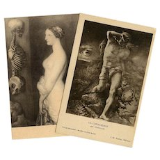 Eye of God and Death: Two Sepia Art Reproduction Postcards