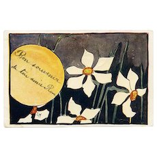 1899 French Swiss Postcard of Poet's Narcissus Daffodil