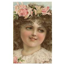 Rosey Cheeked Child Wearing Crown of Roses Unused Antique Theo Stroefer German Postcard