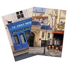 Paris Shop Scenes Two Artist Signed Unused Vintage Postcards