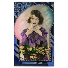 Art Deco Hand-painted Unused French Postcard Lady in Purple