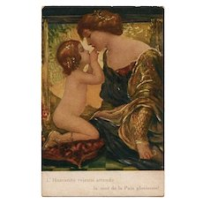 Italian French Unused Postcard WWI Mother and Child Renaissance Style