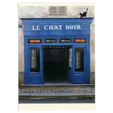 Le Chat Noir Montmartre Paris Shop Front by French Painter André Renoux