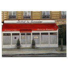Bistrot du Sommelier Paris Restaurant by French Painter André Renoux Unused Vintage Postcard