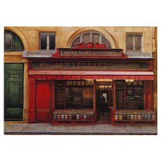 Historical Legrand Paris storefront by French painter André Renoux