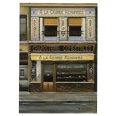 Paris Delicatessen Grande Renommée by French Painter André Renoux Unused Postcard c1980s