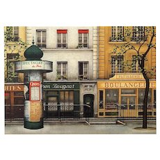 Iconic Morris Column with Paris Posters by French Painter André Renoux Unused Vintage Postcard