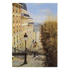Rue Utrillo by Paris Painter André Renoux Artist Signed