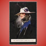 Barribal Beauty in Blue with Love Note Antique English Postcard
