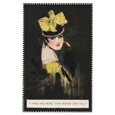 Barribal Beauty in Yellow with Love Note Antique English Postcard
