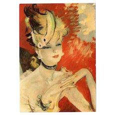 Retro Parisian Pin Up Beauty by French Artist Jean-Gabriel Domergue