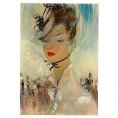 Parisian Lady in Chic Hat by Jean-Gabriel Domergue Unused Vintage Postcard