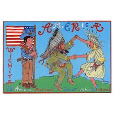 Kansas Postcard Show Illustrated Signed by French Artist Patrick Hamm