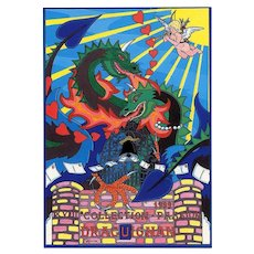 Valentine Dragon Love 1999 Postcard Designed by French Artist Patrick Hamm