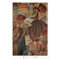 Girl Kissing Boy Soldier German Artist Postcard with Humorous French Message