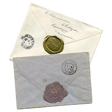Two Wax Sealed Antique Envelopes Castle Baron and Fontainebleau in France