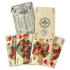 Paris Pattern Antique French Playing Cards 33 with Watermark and 1890 Tax Stamp