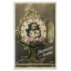 Toddler Inside Clock Antique French Hand Painted Montage Postcard