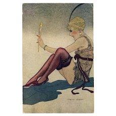 Art Deco Flapper by Italian Artist Fabius Lorenzi Antique Postcard
