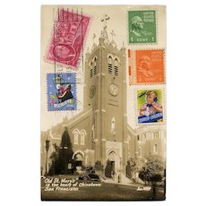 St. Mary's Church Chinatown San Francisco Postcard Mailed to France 1946
