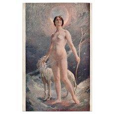 Nude in Moonlight with Borzoi Salon de Paris Antique French Postcard