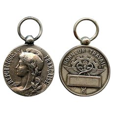 Silver Plated French Work Service Medal with Marianne and Caduceus c1990s