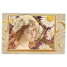 Masters of the Postcard Series Art Nouveau Lady and Flowers Artist Signed c1903