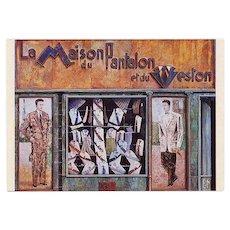 Paris By the Painters Men's Shop Vintage Postcard Unused