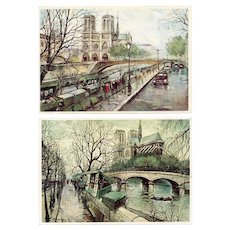 Notre Dame by Georges B Two Vintage Paris Postcards
