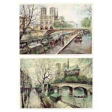 Notre Dame by Georges B Two Vintage Paris Postcards